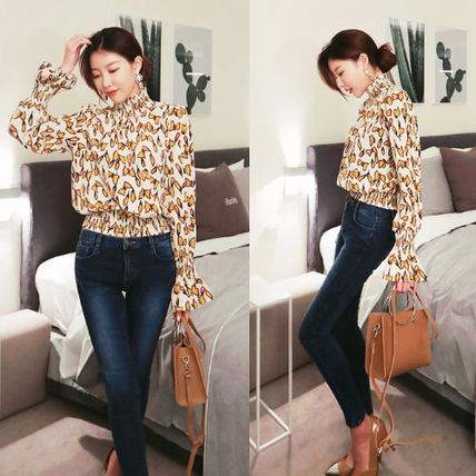 Shirts & Blouses Street Style Long Sleeves Other Animal Patterns Medium 3