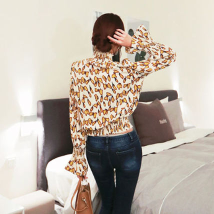 Shirts & Blouses Street Style Long Sleeves Other Animal Patterns Medium 4