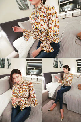 Shirts & Blouses Street Style Long Sleeves Other Animal Patterns Medium 8