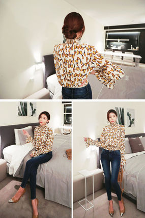Shirts & Blouses Street Style Long Sleeves Other Animal Patterns Medium 9