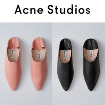 Acne Casual Style Plain Leather Slippers Slip-On Shoes