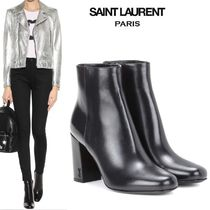 Saint Laurent Round Toe Leather Ankle & Booties Boots