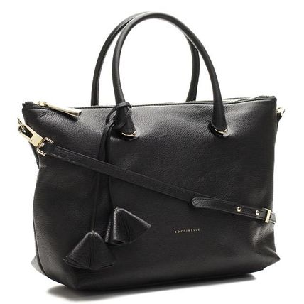A4 2WAY Plain Leather Office Style Totes