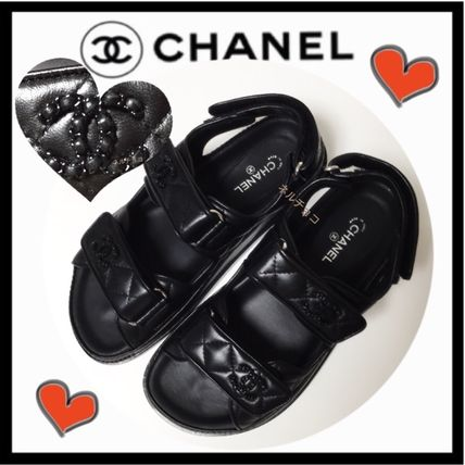 CHANEL SPORTS Casual Style Unisex Plain Leather Footbed Sandals