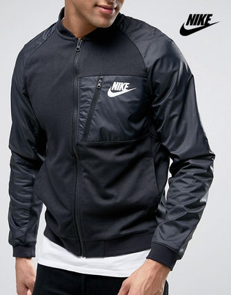 * NIKE * different material sleeve sweat bomber jacket/b