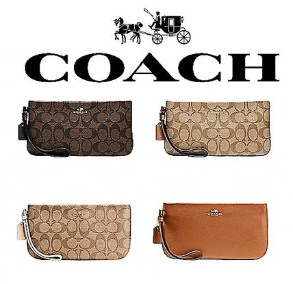 Coach Bag in Bag Plain Leather Clutches