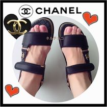 CHANEL SPORTS Platform Casual Style Plain Footbed Sandals Flat Sandals