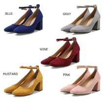 JUST JINNY Argile Square Toe Casual Style Suede Street Style Plain
