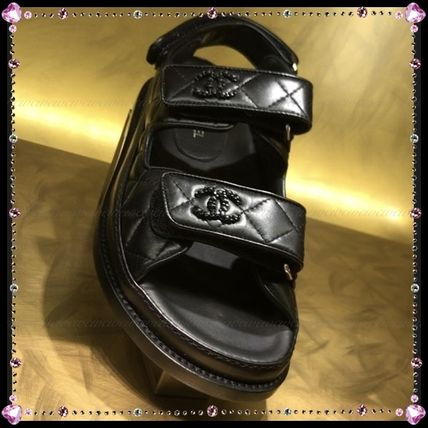 CHANEL SPORTS Open Toe Casual Style Street Style Leather Sport Sandals