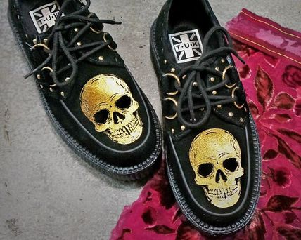 Skull Platform Plain Toe Casual Style Suede Street Style