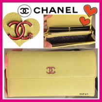 CHANEL ICON Flower Patterns Plain Leather Long Wallets