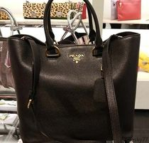 PRADA A4 2WAY Plain Leather Totes