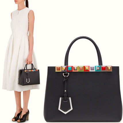 FENDI 2 JOURS FE 1316 STUDDED PETITE 2 JOURS IN SMOOTH CALF