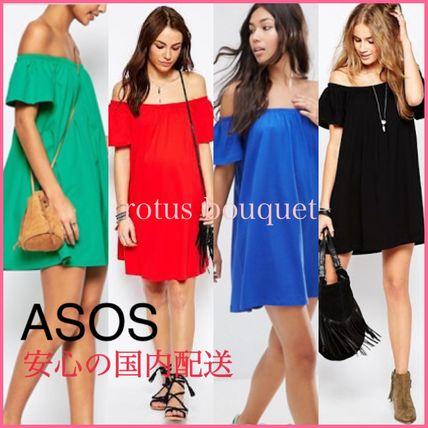 ASOS Short Casual Style A-line Plain Cotton Dresses