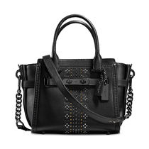 Coach SWAGGER Black Glovetanned Leather Bandana Rivets 21 Handbag