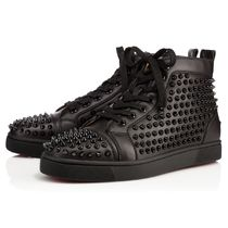 Christian Louboutin LOUIS Studded Street Style Plain Leather Sneakers