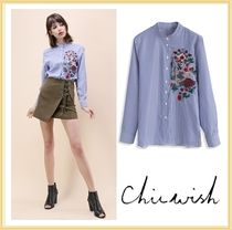 Chicwish Stripes Long Sleeves Other Animal Patterns Shirts & Blouses
