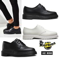 Dr Martens Round Toe Rubber Sole Lace-up Unisex Plain Leather Shoes