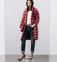 Other Check Patterns Casual Style Faux Fur Long Oversized
