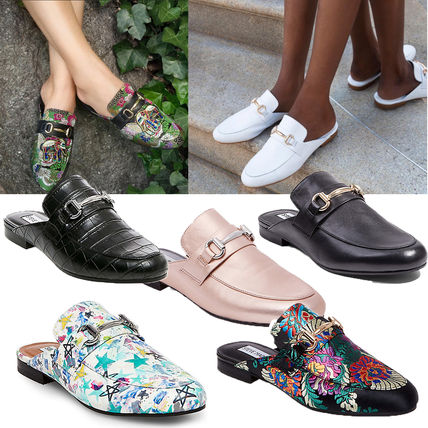Flower Patterns Plain Leather Slippers Sandals