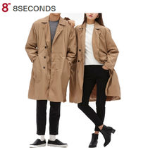 8SECONDS Unisex Plain Long Elegant Style Peacoats