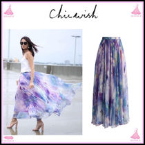 Chicwish Flower Patterns Casual Style Maxi Long Maxi Skirts