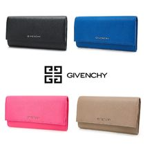 GIVENCHY PANDORA Plain Leather Long Wallets