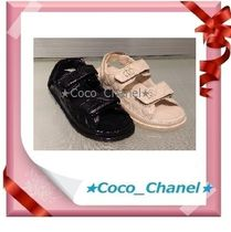 CHANEL SPORTS Casual Style Leather Footbed Sandals Flat Sandals