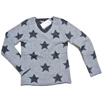 Star Casual Style Cashmere V-Neck Long Sleeves Medium