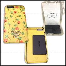 PRADA Flower Patterns Leather Smart Phone Cases