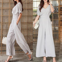 Maxi Chiffon V-Neck Plain Long Short Sleeves Office Style