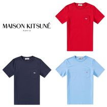 MAISON KITSUNE Crew Neck Pullovers Unisex Plain Cotton Short Sleeves