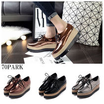 Platform Lace-up Casual Style Street Style Plain