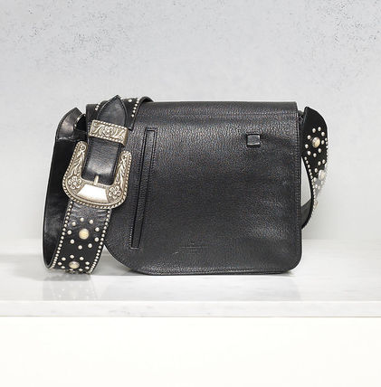 Casual Style Calfskin Studded Plain Shoulder Bags