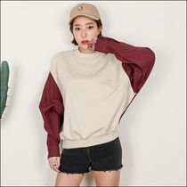 Street Style U-Neck Long Sleeves Plain Cotton Medium