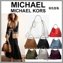 Michael Kors BROOKLYN Tassel A4 2WAY Plain Leather Office Style Shoulder Bags