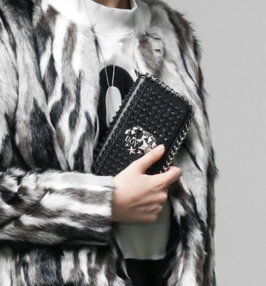 Casual Style Faux Fur Studded Clutches