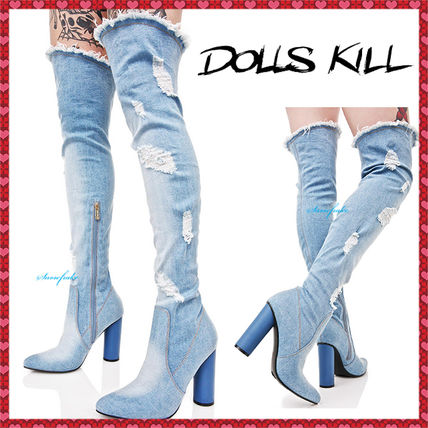Damage jeans knee high boots
