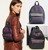 Coach Casual Style Plain Leather Backpacks