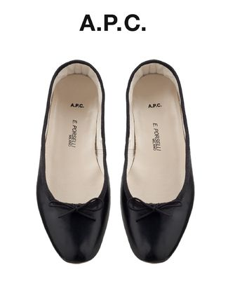 Round Toe Plain Leather Elegant Style Ballet Shoes