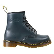 Dr Martens Round Toe Rubber Sole Casual Style Plain Leather Flat Boots