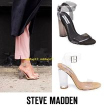 Steve Madden Open Toe Casual Style Plain Block Heels Heeled Sandals