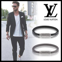 Louis Vuitton TAIGA Plain Leather Bracelets