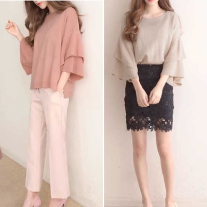 Casual Style Plain Oversized Puff Sleeves Sweaters