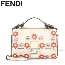FENDI BAGUETTE Double Micro Shoulder Bag With Flowers / White
