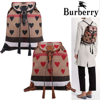Heart Casual Style Cambus Backpacks
