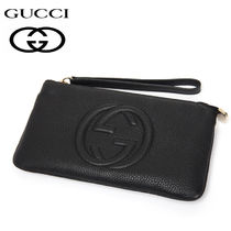 GUCCI Soho Leather Party Style Clutches