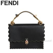 FENDI KAN I Scalloped Edge Shoulder Bag / Black