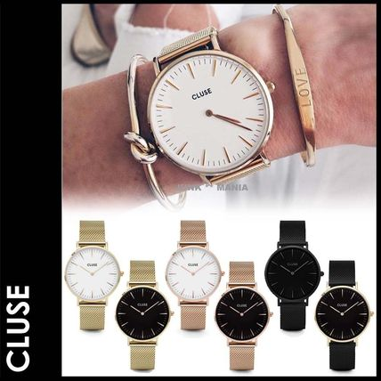 Round Quartz Watches Stainless Elegant Style Analog Watches