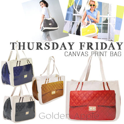 Casual Style Canvas A4 Totes